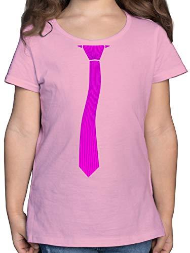 Karneval & Fasching Kinder - Krawatte Streifen Kostüm - 164 (14/15 Jahre) - Rosa - Geschenk - F131K - Mädchen Kinder T-Shirt
