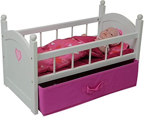 Wooden Doll Crib with Storage Drawer Fits 18 Inch Dolls