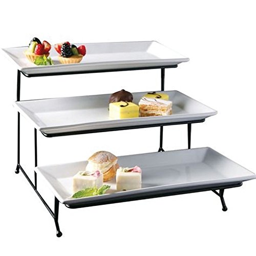 3 Tier Rectangular Serving Platter Three Tiered Cake Tray Stand Food Server Display Plate Rack White