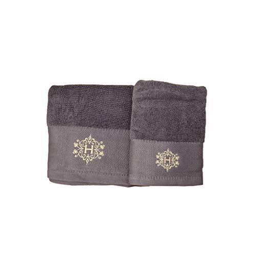 HERVIT Juego de 2 toallas gris 50 x 80 cm 70 x 140 cm 28389