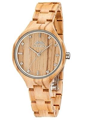 AMEXI Unisex madera con tela correa analógico relojes para mujeres y hombres