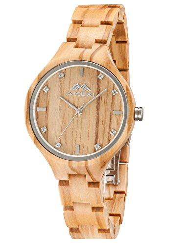 Amexi Reloj de madera para mujer, hecho a mano mujeres relojes de...