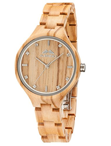 Amexi Reloj de madera para mujer, hecho...