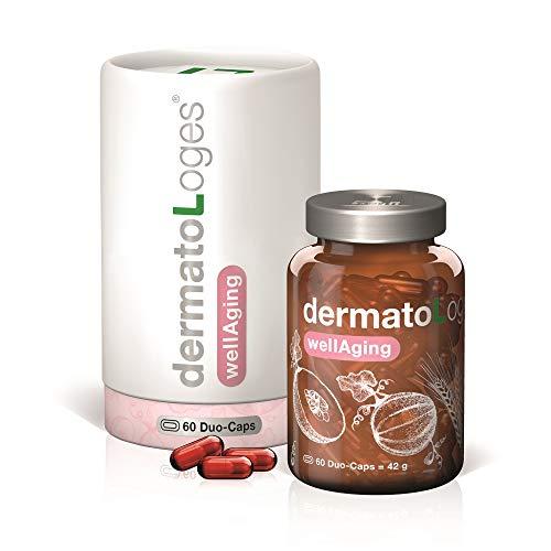 dermatoLoges® wellAging Monatspackung - Pflanzenpower für eine strahlend glatte Haut - Nahrungsergänzung mit innovativem Kapsel-Konzept und dualem Effekt - 30 DuoCaps