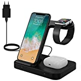 Chargeur sans Fil 15W - 3 en 1 Chargeur à Induction Rapide, Station de Charge Compatible avec Apple Watch 5/4/3/2/1 Airpords Pro/Galaxy Buds iPhone 12 11 Pro Max Samsung Galaxy S10 S9 S8 S7