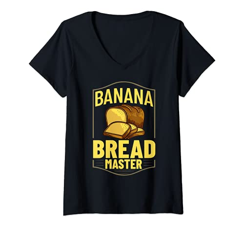 Mujer Pan de plátano Receta de Chocolate Chip Nueces Veg Camiseta Cuello V