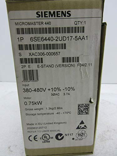 Price comparison product image Inverter 6SE6440-2UD17-5AA1 MICROMASTER 440 0.75kW Frequency Converter 6SE6 440-2UD17-5AA1