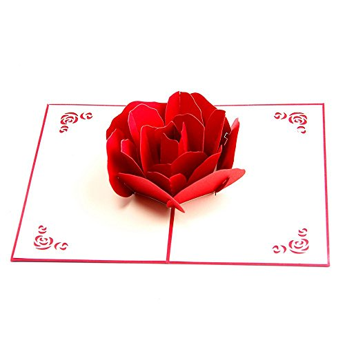 ACAMPTAR 3D -Up Rose Gracias Postales de felicitacion Flor hecha a mano en blanco Vintage Papel Feliz cumpleanos Love Gift Card