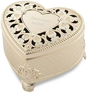 Things Remembered Personalized Soft Gold Anastasia Heart Keepsake Jewelry Box with Engraving Included