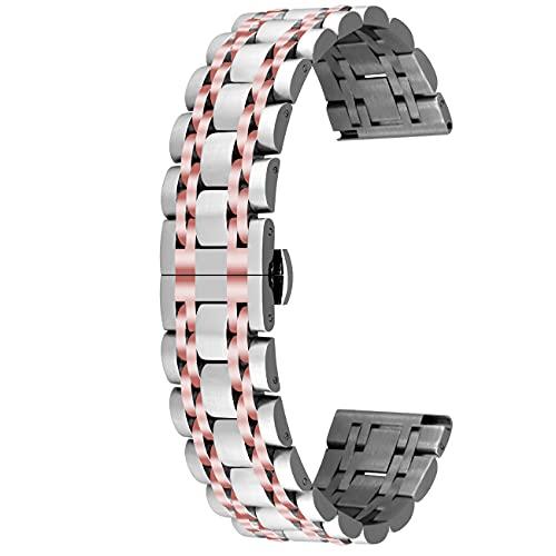 Kai Tian Konisches Uhrenarmband Bereitstellungsschnalle 20mm Ersatzband Edelstahl Armbänder für Frauen Männer Silber Roségold