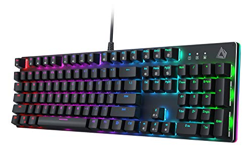 AUKEY Mechanical Gaming Keyboard with Customizable RGB Backlight & Tactile Blue Switches, 104-Key Anti-Ghosting Wired Keyboard with Surround Lighting, Steel Body for PC and Laptop