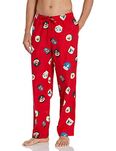 Amazon Essentials Men's Flannel Pajama Pant, Red Snow Globe, Large
