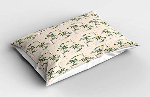 ABAKUHAUS Coconut Pillow Sham, Island Pattern Sailboat, Decorative Standard Size Printed Pillowcase, 32' X 16', Hunter Green Beige