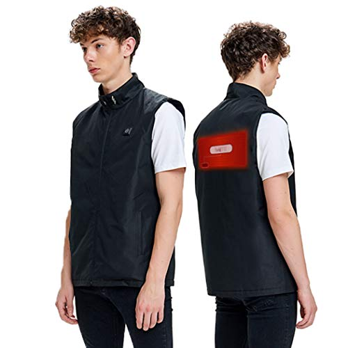 Lightweight Heating Electric Vest Heated Jacket Cold-Proof Heating Clothes Washable for Women andMen with USB Charging Insert (Men-Black, L)