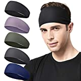 Acozycoo Mens Running Headband,5Pack,Mens Sweatband Sports Headband for Running, Cycling, Basketball,Yoga,Fitness Workout Stretchy Unisex Hairband (Black, Green, Dark Gray, Dark Blue,Light Purple)