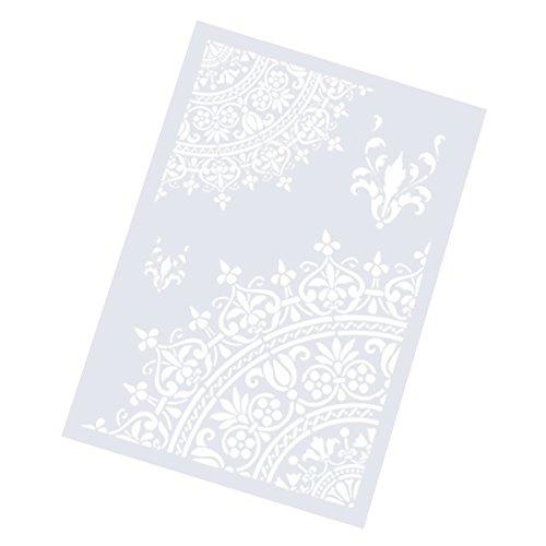 ULTNICE Plantillas de dibujo para pintura con diseño de flores, para manualidades, álbumes de recortes, color blanco