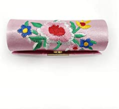 ZQLY Lipstick case Chinese style embroidered satin storage box makeup box (Color : Pink)