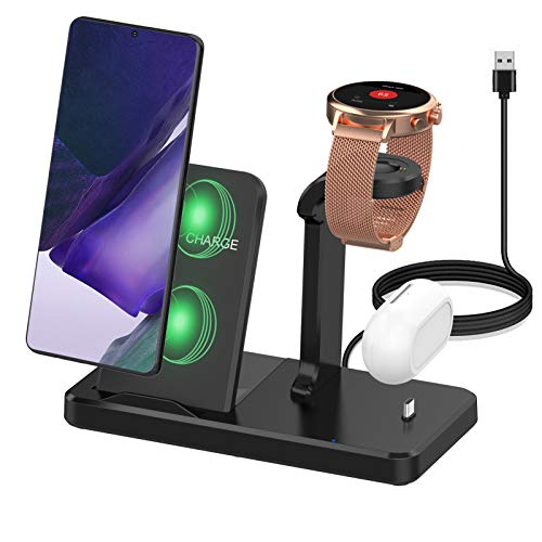 Kartice Compatible with Fossil Gen 5E 42mm 44mm Charger Multiple Charger with Type C Charge Port 3 in 1 Wireless Charger Station Stand for Fossil Gen 4/S20/Buds Pro/Gen 5 Julianna Carlyle Charger