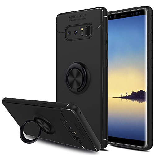 Elegant Choise Galaxy Note 8 Case, Hybrid Slim Durable Soft 360 Degree Rotating Ring Kickstand Protective Case with Magnetic Case Cover for Samsung Galaxy Note 8 / SM-N950F / SM-N950U (Black)