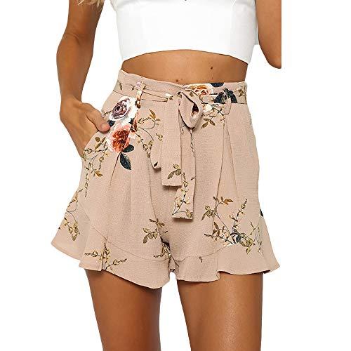 Dasongff Damen Hotpants Sommer Chiffon Shorts Floral Bedruckt Boho Weite Bein Palazzo Kurz Hose Casual Fit Falten Volant Strandhosen Locker Sommerhose Streetwear Beiläufige