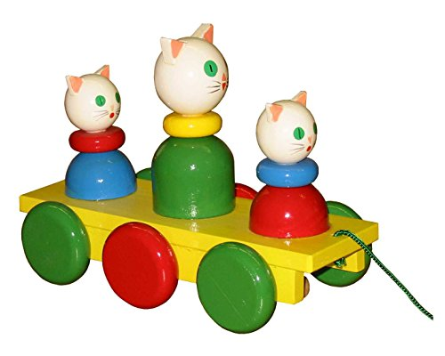 ABA Pull-Along Three Cats Cart with Motion (Coloured)