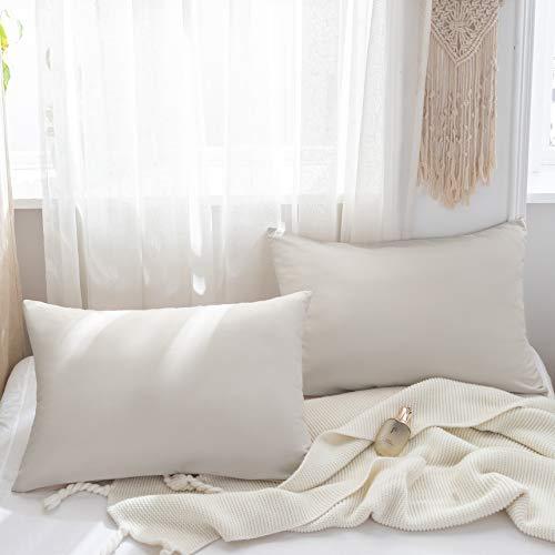 Mohap Lot de 2- Taies d'oreiller 50x70cm Beige Housse de Coussin avec la Fermeture Eclair