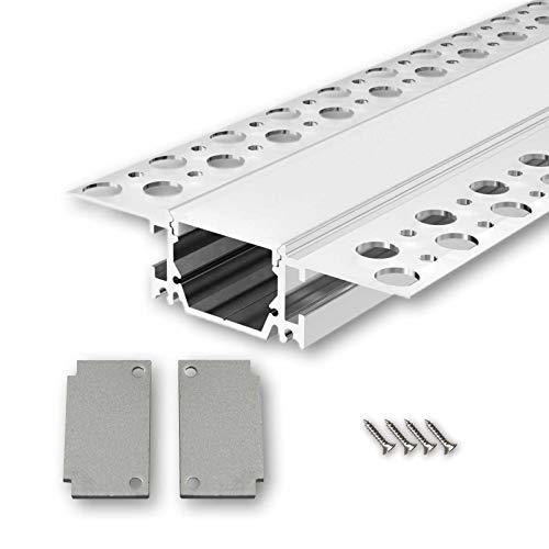 SALA73 U-Profil Aluminium LED eloxiert | L - 2m x B - 3,30cm x H - 1,85cm | Alu Kanal für LED Streifen + Acryl Abdeckung milchig-weiß + 2x Endkappen | Aluprofil für Stripes bis 15mm Breite + belastbar