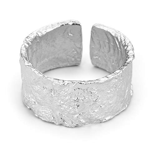 ♥ Regalo para Navidad♥ JIANGYUYAN S925 Anillo de plata esterlina Superficie irregular Lámina de oro y plata Anillo ancho femenino Anillos abiertos para mujeres y niñas(Silver)