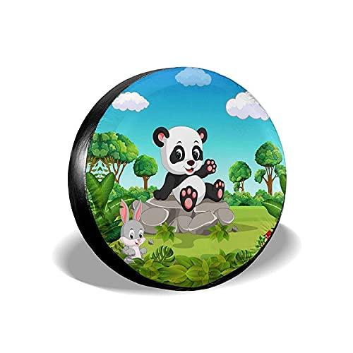 MODORSAN Panda in Forest - Cubierta Universal para Llantas de Repuesto, Protectores de Llantas Impermeables a Prueba de Polvo para Jeep, Remolque, RV, SUV y Camiones, 16 Pulgadas