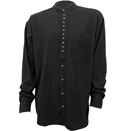 Civilian Irish Grandfather Collarless Shirt - Cotton/Linen Blend (Black, L)