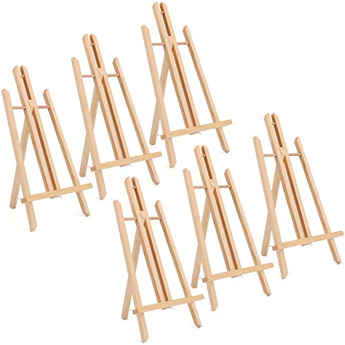 Tosnail 6 Pack 15' Natural Wooden Easel Stand Tabletop Easel Painting Easel