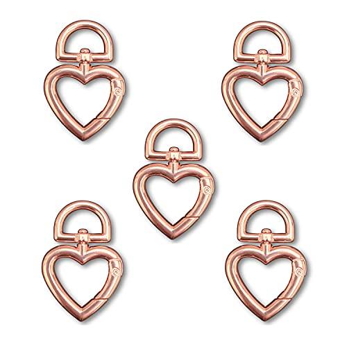 Daoqi 5 STK. Schlüsselringe, Karabiner drehbar als Schlüsselanhänger, Herz groß, ideal für Makramee (Rosegold)
