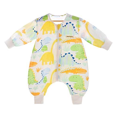 YFCH Baby/Kinder Jungen/Mädchen Schlafsack Kinderschlafsack Langarm Schlafsack Baumwolle Musselin Babyschlafanzug Schlummersack mit Bein, Grün und Gelb Dinosaurier, 62/68(Label: 60)