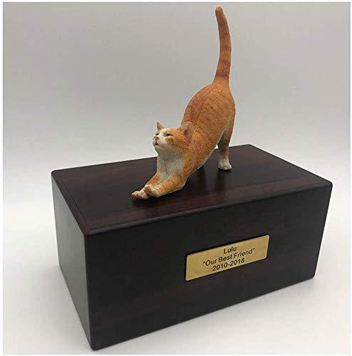 L.TSA Pet Coffin, Custom Dog/Cat Figurine Cremation Urn Caja de cremación de Animales/enterrada Decorativa, de Madera, Tipo múltiple, A