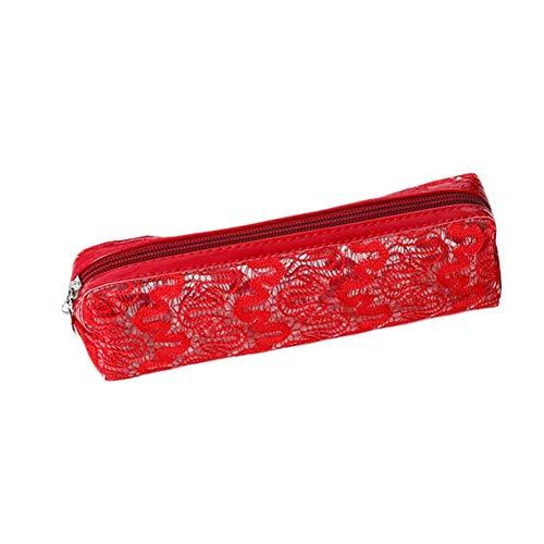 Da.Wa Penna a grana lucida rossa Sacchetto di matita in PVC Sacchetto cosmetico Strumentazione per l'ufficio Arredamento per ufficio Borsa cosmetica femminile Custodia cosmetica 5cm * 6cm * 20.5cm