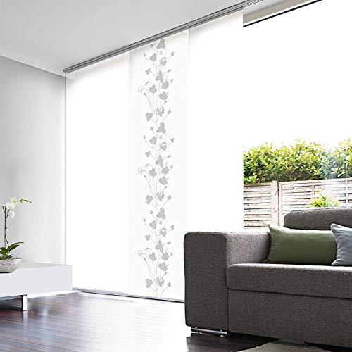 MADECOstore Panel japonés de Efecto Velo, Blanco con Motivos Florales, 45 x 260 cm (Ancho x Alto)