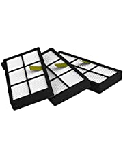 MIRTUX Zestaw 3 filtrów do Roomba 800 i 900 zestaw filtrów zamiennych do serii 8 i 9. Zamiennik z trzema filtrami Hepa.
