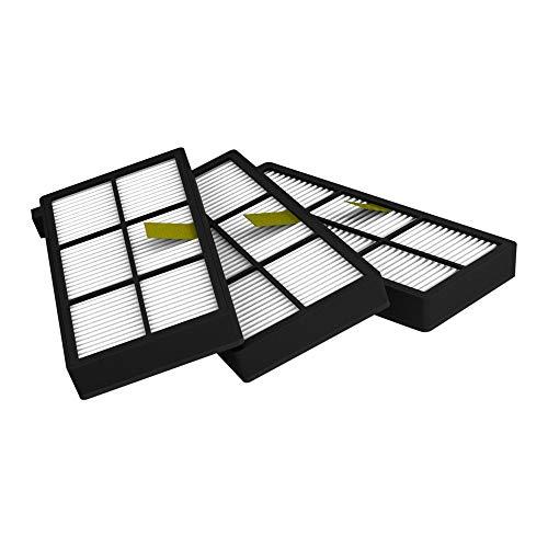 MIRTUX Pack 3 filtros Compatible con Roomba 800 y 900. Kit de repuestos de Filtro Serie 8 y 9. Recambio de reemplazo con Tres filtros hepa
