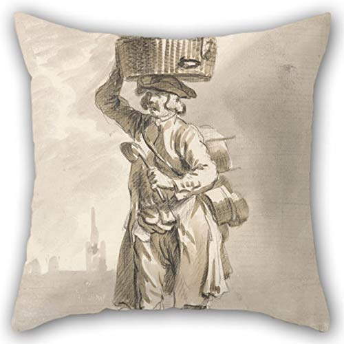 Oil Painting Paul Sandby - London Cries- A Man with A Basket (Man Selling Pots and Pans) Throw Pillow Covers 16 X 16 Inches / 40 by 40 cm Best Choice for Outdoor Son Sofa Dinning Room Bar Seat Bed