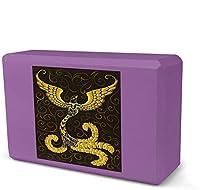 ヨガブロック、装飾付きゴールデンバードフォームヨガブロック、EVAフォームブリックフェザーウェイトと快適-柔らかい滑り止めの表面は、ヨガ、運動、ピラティス、瞑想のための安定性とバランスを提供します-紫-8.9x3.1x6インチ