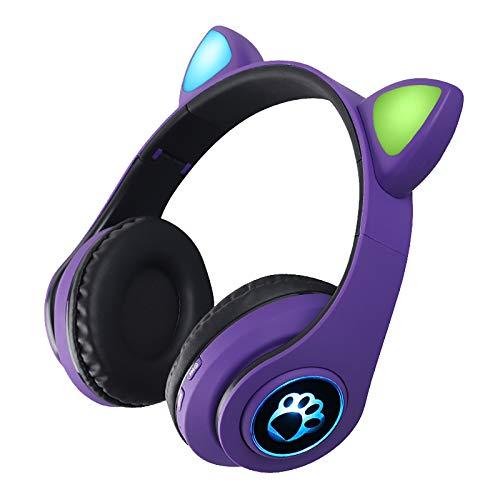 Feigner Cat Ear Wireless 5.0 - Auriculares inalámbricos para videojuegos con Bluetooth, auriculares inalámbricos plegables con control de volumen, para viajes escolares