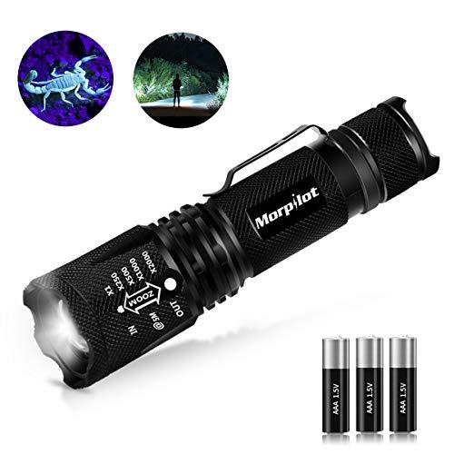 2 in 1 UV Lampe, Morpilot Schwarzlicht und Weißes Licht Taschenlampe, 4 Modi, 500lm, 395nm Ultraviolett, Detektor für unechte Banknoten, Urin von Hunde, Katzen und andere Haustiere (inkl. Batterien)
