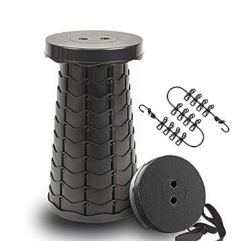 Tabouret Pliant Portable de camping - tabouret telescopique Hauteur réglable - tabouret pliable Peut supporter 200 kg - Avec sangles - Livré avec une corde à linge