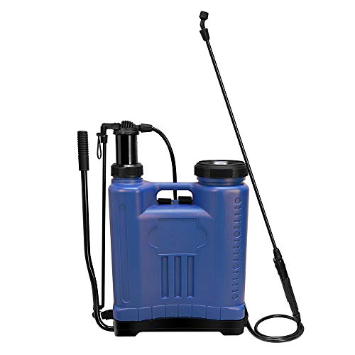 Seasonfall 5 Gallon Sprayers in Lawn and Garden with Adjustable Nozzles Knapsack Manual Hand Backpack Pump Sprayer, Blue