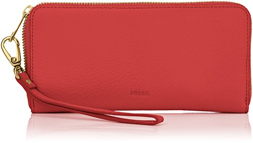 Fossil Damen Geldbörse Emma-RFID Large Zip Clutch, Rot (Red Velvet), 2.5x11.1x20 cm