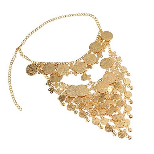 KALLORY Moneta - Cubierta para la cara o la danza de metal decorativa para la boca, bufanda de velo, exótica, para la cara, con punto de prestación para mujeres y señoras de oro