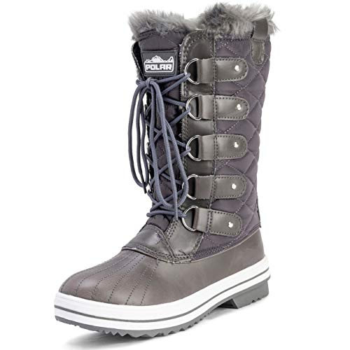 Mujer Nieve Bota Nylon Alto Winter Nieve Impermeable Calentar Lluvia Bota - Gris - 3-36 - CD0029