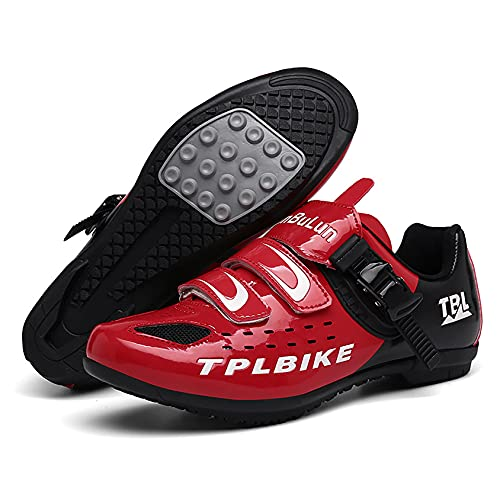 RTY Zapatos De Ciclismo De Bicicleta para Hombre, Zapatos De Microfibra Transpirables Sin Bloqueo para Bicicleta De Montaña, Zapatos De Ciclismo,Rojo,41