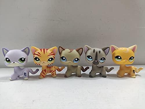 Littlest Pet Shop Cat Short Hair Cats LPS Toys Animal Figure 5 pcs/Set