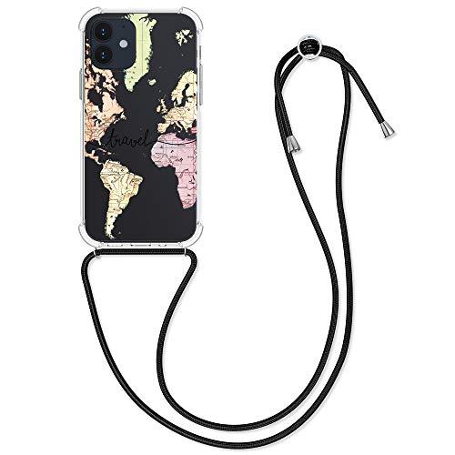 kwmobile Funda con Cuerda Compatible con Apple iPhone 12/12 Pro - Carcasa de TPU con Colgante Mapa Mundial Negro/Multicolor/Transparente
